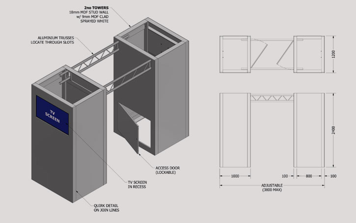 stand drawing elevation and plan