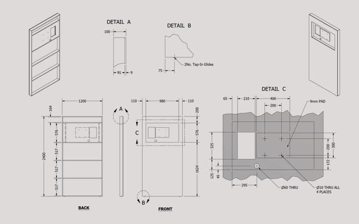 lcd screen engineering drawing