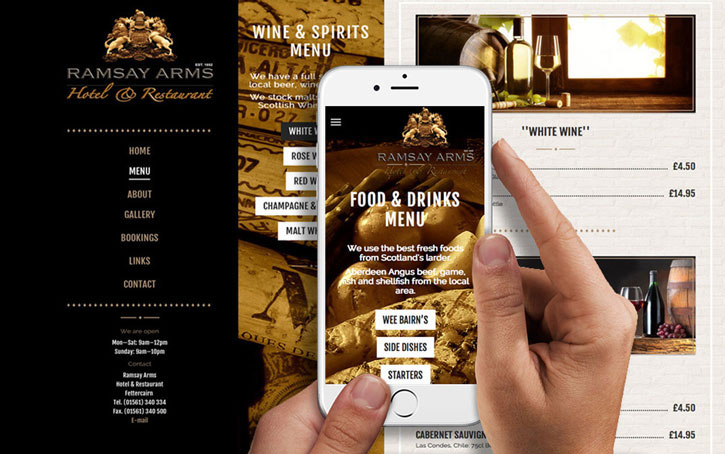 WEb design for Ramsay Arms Aberdeen