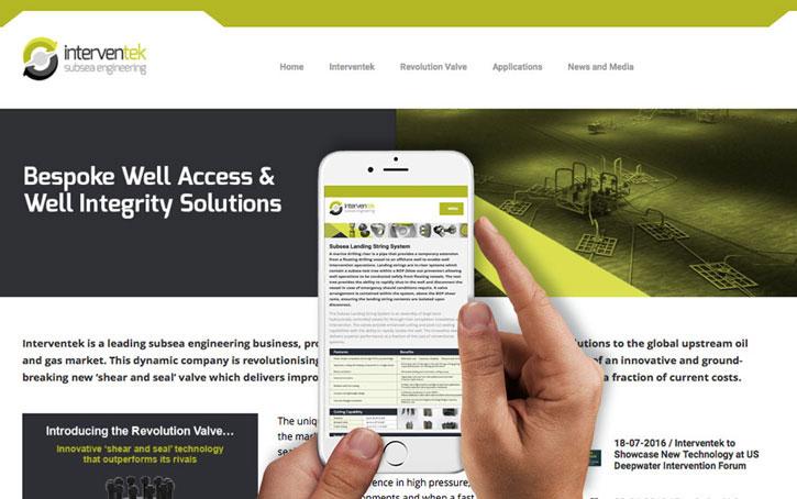 screengrab of web design for Interventek